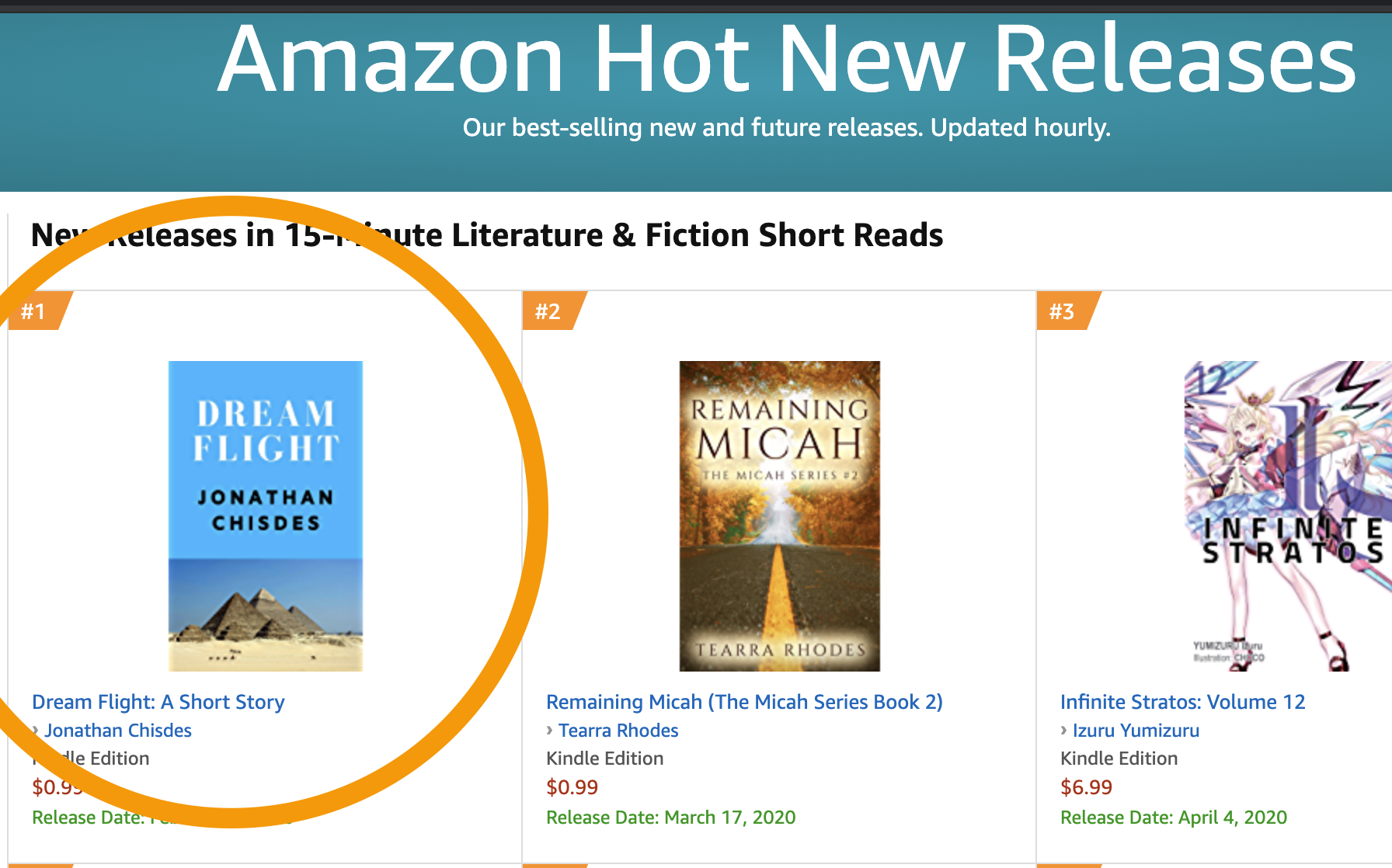 Short story in the number one spot
