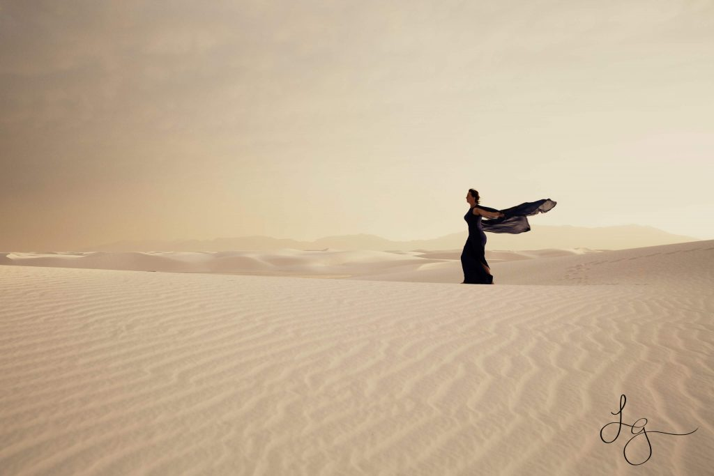 Woman in a dress in the desert for Strong Female characters